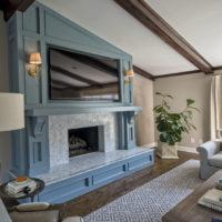 Bright Blue Fireplace
