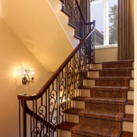 Carpeted Wrought Iron Stairs