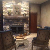 Drystack Stone Fireplace