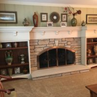 Stone Fireplace With Large Mantle