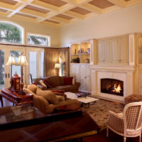 Traditional Living Room With Fireplace And Tray Ceiling