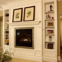 White Fireplace With Built In Cabinets