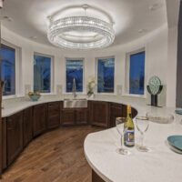 Circular Kitchen With Crystal Chandelier