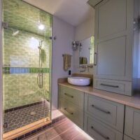 Master Bath With Wood Tile And Undercabinet Lighting