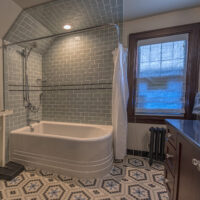 Subway And Mosaic Tile Guest Bath