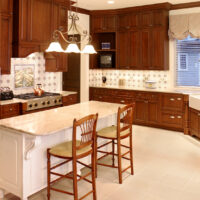 Traditional Kitchen With White Island