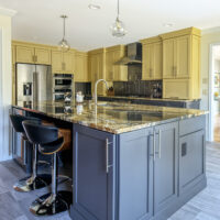 Two Tone Kitchen With Granite Countertops