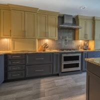 Two Tone Kitchen With Vertical TIle Backsplash
