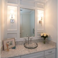Vanity With Glass Sink And Millwork