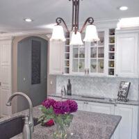 White Kitchen With Diagonal Subway Tile