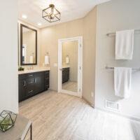 Bath With Woodprint Tile Floor