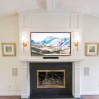 Grey Fireplace With White Mantle